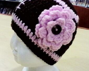 Crochet baby girl and boy football beanie