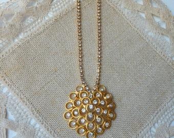 Gold Rhinestone Pendant Necklace Ornate Gold Tone Transparent Rhinestone Choker,Statement Gold Rhinestone Prong Set Necklace,  Retro 60's
