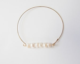 Gold and Freshwater Pearl Wire Bangle Bracelet