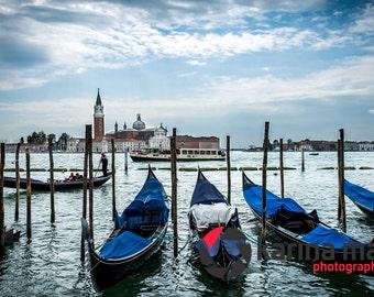 SALE Gondolas in Venice, Italy, Italian, travel, landscape,  romance, water, Venetian, Photograph, print, wall art