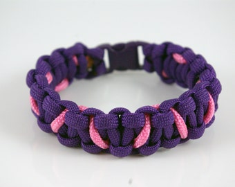 Paracord Purple and Light Pink Bracelet Cobra Weave Size 7 inches