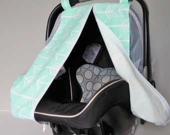 Summer Car Seat Canopy - Mint and White Arrows Car Seat Cover - Cotton Car Seat & Fitted carseat cover | Etsy