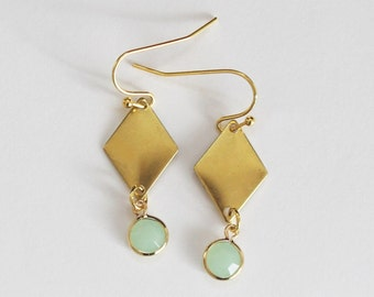 Earrings diamond with mintgrünem trailer