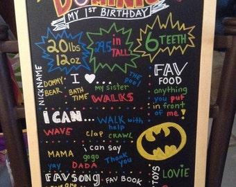 Super Hero 1st Birthday chalkboard