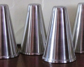 Vintage Set of 4 1960s Stainless Steel Salt & Pepper Shakers
