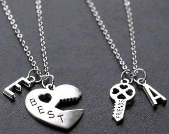 Best Friends Necklace set, initials Graduation Friendship Necklace, best bitches, heart key set, sisters gift jewelry, 2 set