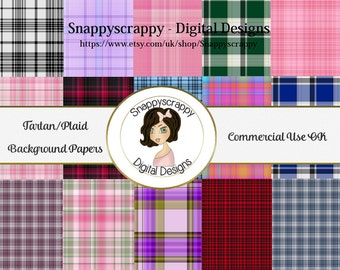 Tartan Background Papers, Digital Scrapbooking, Tartan scrap Kit Papers, CU, CU4CU