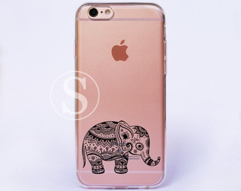 Elephant iPhone 6 Case, Clear iPhone 6s Plus Case, Clear iPhone 7 Case, iPhone 7 Plus Case, Clear iPhone 6s Case, Aztec Elephant, SA-28