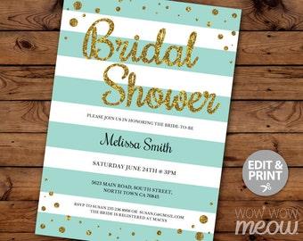 Bridal Shower Invitation INSTANT DOWNLOAD Bachelorette Party Mint Gold White Glitter Invite Personalize Editable + Printable Edit @ Home