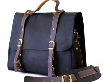 Rodolfo Black Leather Messenger Bag// Leather Briefcase// Travel Bag// inner computer and accessories compartment// inner organizer