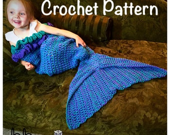 Mermaid Tail Blanket with Ruffles - PATTERN ONLY - Crochet - Size: Toddler, Child & Adult
