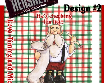 Printable Santa Christmas Candy Bar Wrappers 1.55 oz. Hershey's Milk Chocolate Cookies and Cream Nestle Crunch