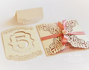 Roses Lace Wedding Table Number Floral Cards template (svg, dxf, ai, eps, png, pdf) paper cutting, laser cut file cutter Instant Download