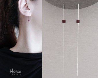 More Colors-Long String Earrings with Swarovski Crystal Cube Beads, Sterling Silver