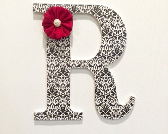 Wood Letter / Custom Letter / Wall Decor / Decoupage Letter / Home Decor / Black and Red / Gifts For Her