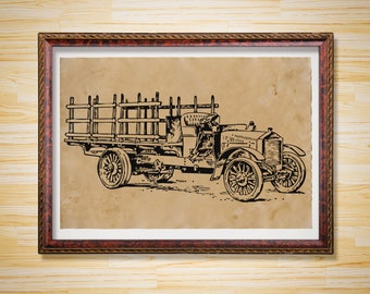 Retro Car print Vintage art decor Vehicle poster