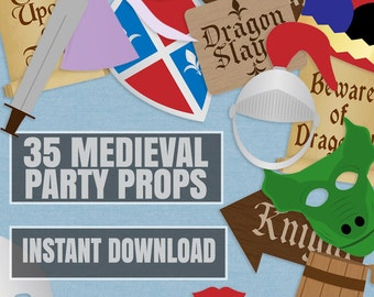 35 Medieval Party Props, knights party printable photo booth signs, knights and princess party, beware of dragons, medieval party ideas