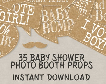 35 Rustic Baby Shower Printable Props, Speech Bubbles, Party Props, New Baby  Photo