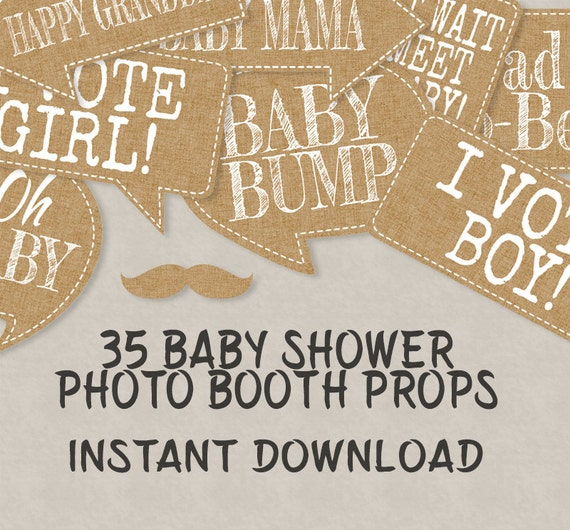 35 Rustic Baby Shower Printable Props, Speech Bubbles, Party Props, New Baby  Photo Booth Props, Vintage Chic Baby Shower Ideas