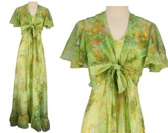 Vintage Dress, 1970s Dress, 70s Dress, Green Vintage Dress, Floral Summer Dress, Garden Party, Maxi Dress, Chiffon Dress, Bolero, Small