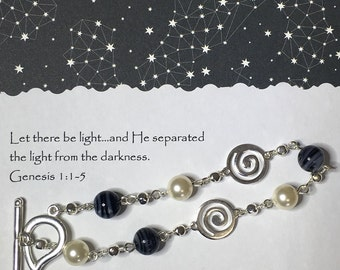 Christian bracelet, Let There be Light, black and silver bracelet, Christian jewelry, bible verse, inspirational bracelet, Christian gift.