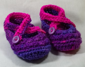 CROCHETED BABY BOOTIES - Purple and Pink, 0-3 months