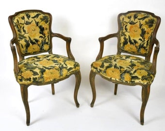 Antique Carved French Open Armchairs (Pair)