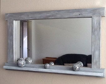 Large mirror with shelf , reclaimed wood, colour washed, shabby chic, 120 x 72 cms