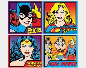 Girl Power Super Heroes (Supergirl - Wonder Woman - Batgirl) - Bodysuit or Child T-Shirt, Adult T-Shirt