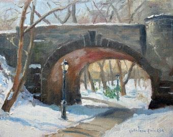 Original Oil Painting, New York City Landscape, Eaglevale Bridge, Central Park, snow