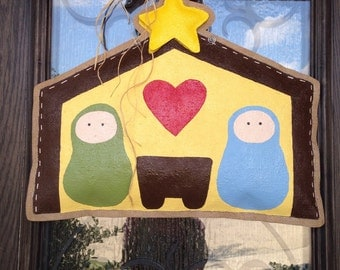 Hand-Painted Burlap Rustic Nativity Door Hanger
