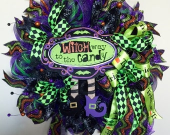 """Halloween Wreath, """"Witch Way to the Candy"""" Halloween Wreath, Halloween Door Decor, Halloween Witch Wreath, Halloween Door Wreath Decorations"""