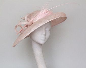 Wide Brim Pale Pink Fascinator  Ascot Hat - Lydia