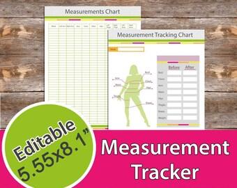 "Measurement Tracker, Weight Loss Progress Tracker, Fitness Planner 5.55x8.1"" Editable, Instant Download, PDF"