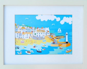 St Ives, Cornwall,  Framed Art Print, Association of British Naive Artists, Seaside View