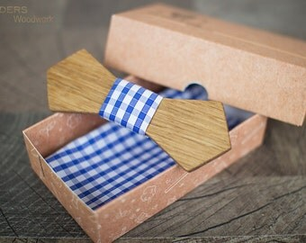 Style Wooden Bow Tie <Public>Nature Oak.Plaid Fabric.Gentleman Style.VIP Collection.Buy Online Fashion Expo Shop Flinders Woodwork