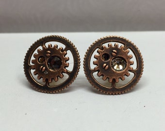 Steampunk earrings with brown Swarovski crystals