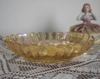 Vintage Imperial Glass Co. Carnival Glass handled candy/pickle/dressing table trinket dish - Pillar Flute Pattern - c1930's
