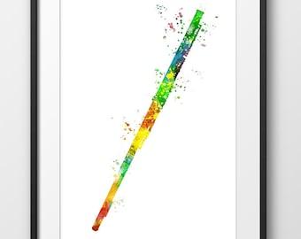 Flute Print, Flute Watercolor Poster, Music Art Print, Music Wall Art, Music Instrument Poster, Flute Decor, Flute Art (A0279)