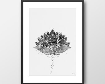 Lotus Print, Lotus Wall Art, Lotus Decor, Yoga Print, Lotus Watercolor Print, Yoga Poster, Yoga Studio, Yoga Gift Black and White (A099)