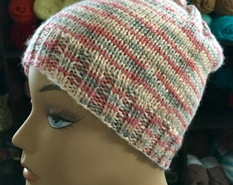 Knitted, pink, grey, and white, adult, skully, beanie, hat, for women, and teen girls.