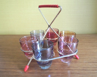 50s Vintage  harlequin shot glasses with Stand / Shot Glass Dsert / French