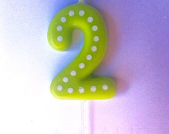 2nd Birthday Candles, Number 2, Blue, Green, Ornange, Red, Yellow, Second Birthday Candle, 2, Two, Candles, Boy, Girl, Birthday, Polka Dots