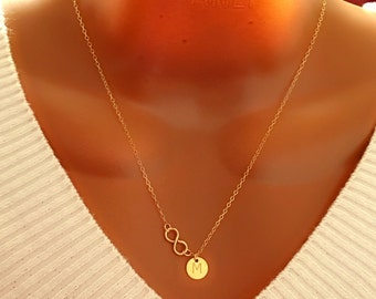Personalized Initial Disc Necklace, 14k Gold Filled Infinity and Disc Necklace, Gift for Mom, Gift for Her, Perfect Gift