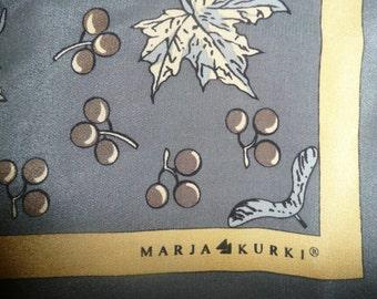 MARJA KURKI gren and yellow 100% silk scarf