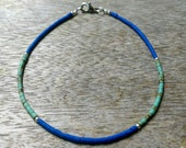 """FREE Shipping Worldwide Afghan Lapis Lazuli, Turquoise Tiny Seed Beads Anklet Ankle Bracelet Silver Plated 9.25"""" Make for Order Handmade"""