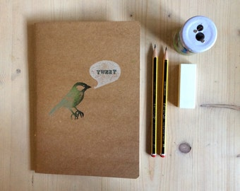 Hand Printed Tweet Bird Eco Kraft Note and Sketch Book
