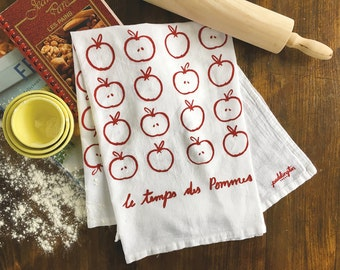 Tea Towel, Hand Printed Flour Sack Towel, Kitchen Towel, Home and Gift, Apples, Fall, French