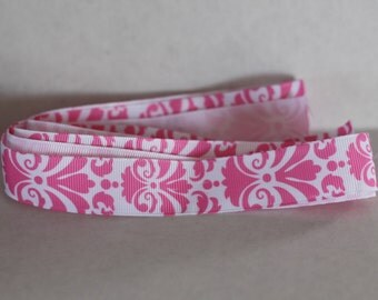 Pink Damask Grosgrain Ribbon