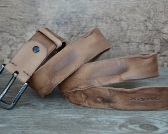 Leather Belt , Mens Belt , Heavy Duty , Durable Belt , Top Grain Leather , Tan Brown